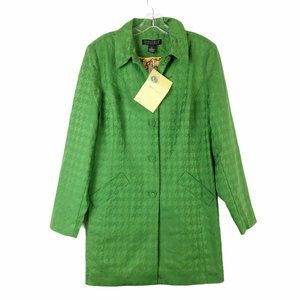 NWT Dialogue Green Houndstooth Jacket Coat Size 14